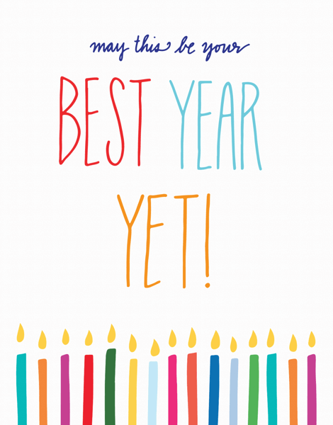 Colorful Hand Lettering Best Year Yet Holiday Card
