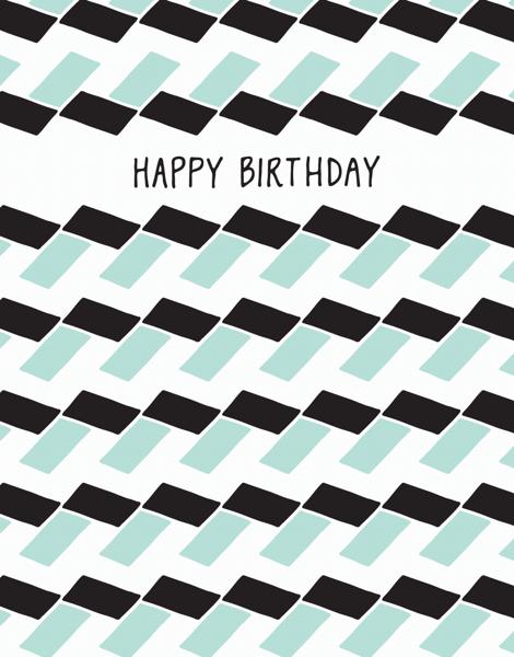 Geometric black and white Birthday Card