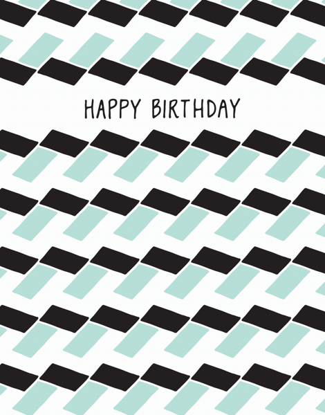 Geometric black and white Birthday Card