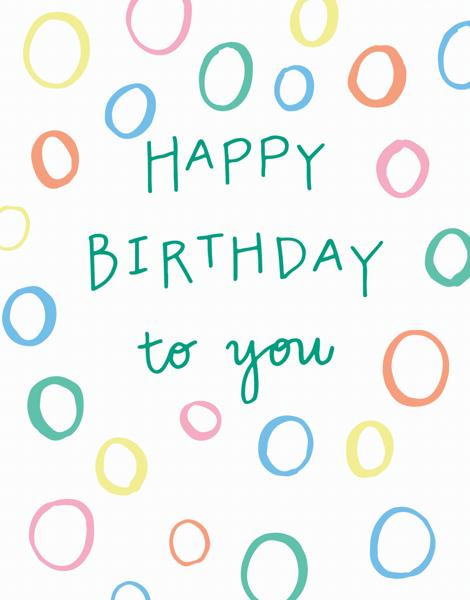 Pastel shapes Happy Birthday Card