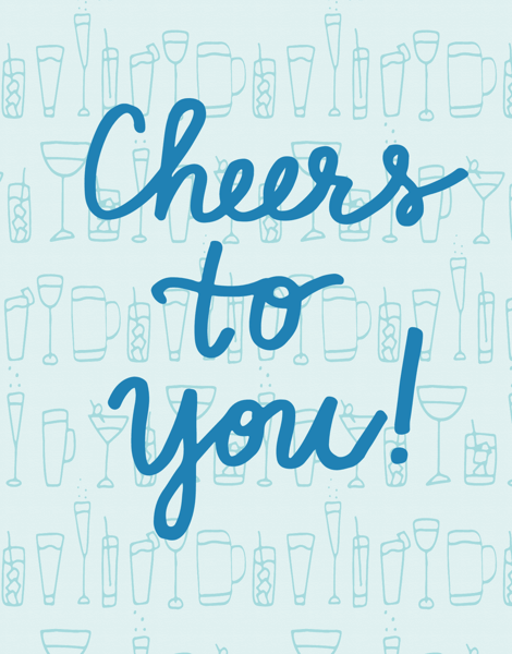 Blue Cheers To You Congratulations Card