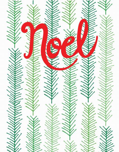 Red Cursvie Noel Christmas card
