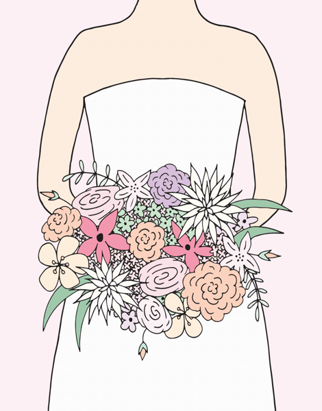 Charming Wedding Bouquet Bridal Card
