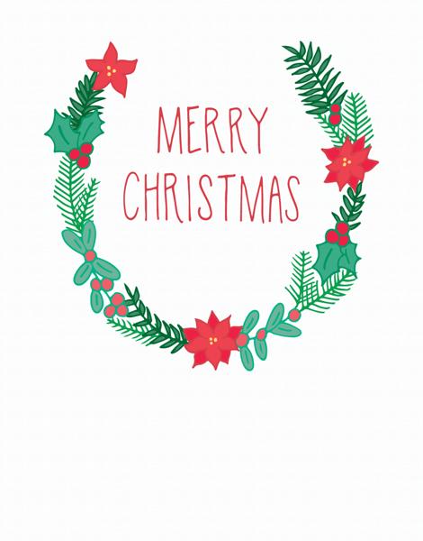 Earthy Merry Christmas Wreath Greeting Card