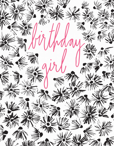 Floral Drawing With Pink Cursive Birthday Girl Card