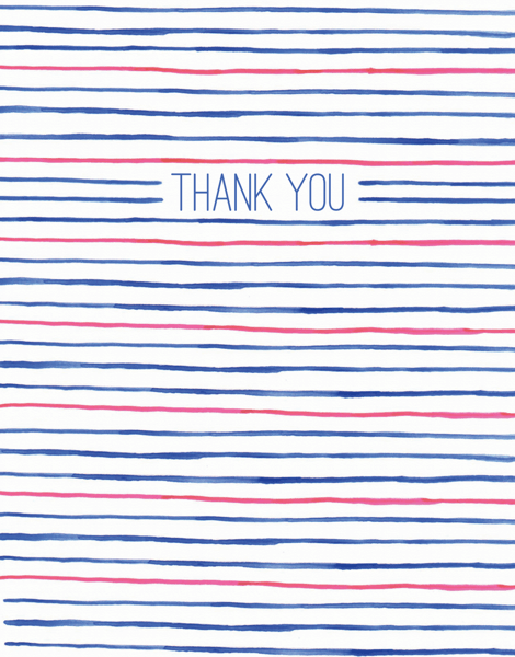 Red White and Blue Striped thank you card