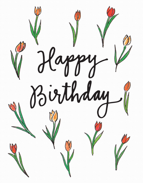 Watercolor tulips Bday Card