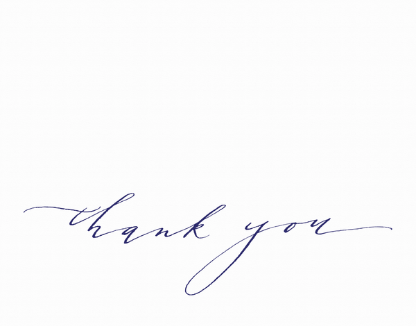 Navy hand lettered thank you card