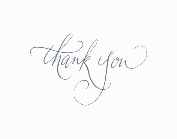 simple Navy Calligraphy Thank You Card
