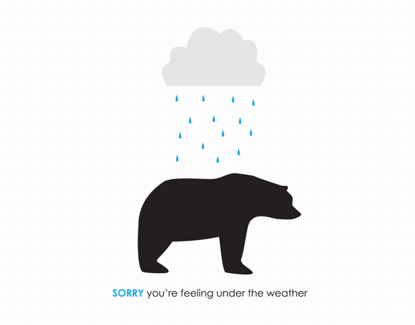 Quirky bear illustration get well card