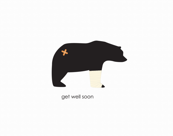 Simple Bear Graphic Get Well Soon Card