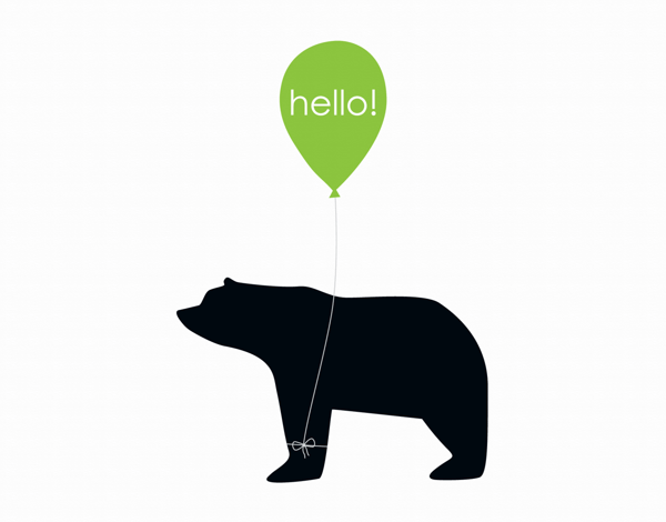 Adorable Bear Graphic hello card