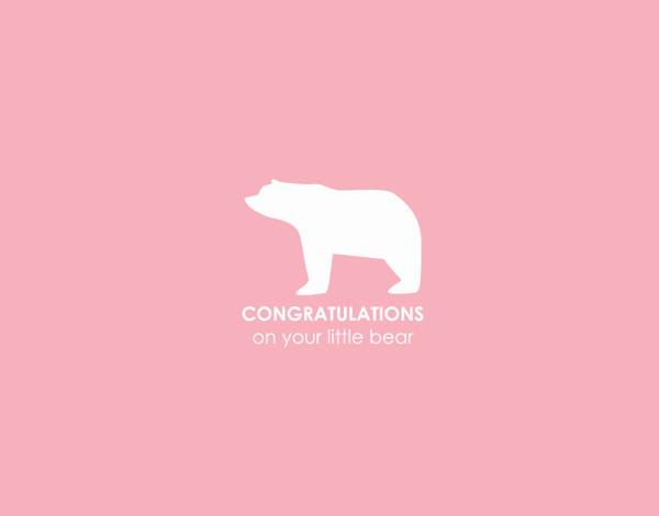Simple Pink Little Bear Congratulations on Baby Card