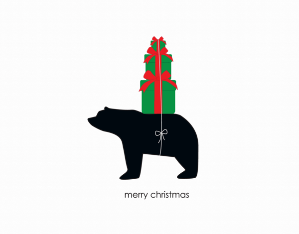Charming Bear Graphic with Presents Christmas Card