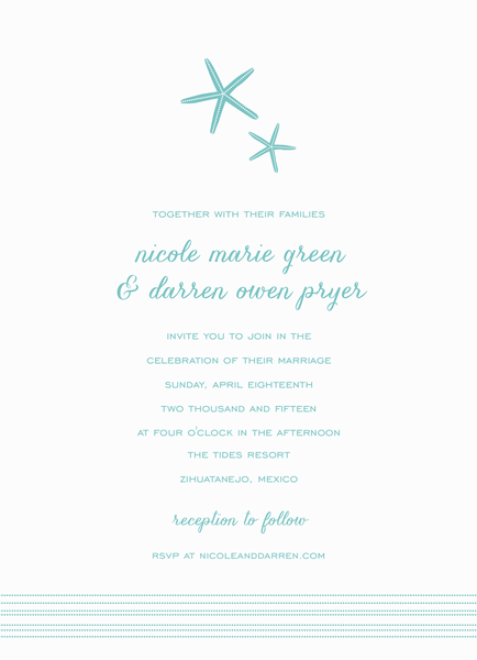 turquoise Starfish Wedding Invitation