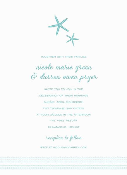 turquoise Starfish Wedding Invitation
