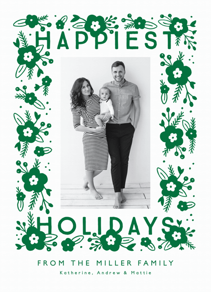 modern floral green happiest holiday with photo