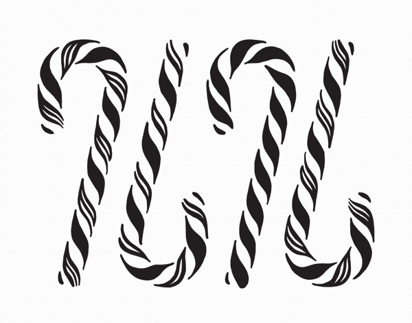 modern black and white candy canes greeting card