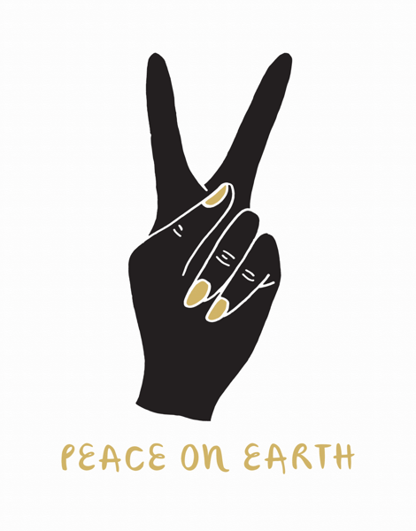 modern peace on earth greeting card with hand peace sign