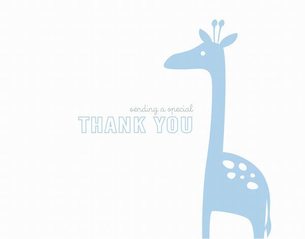 Simple Blue Giraffe Thank You Card