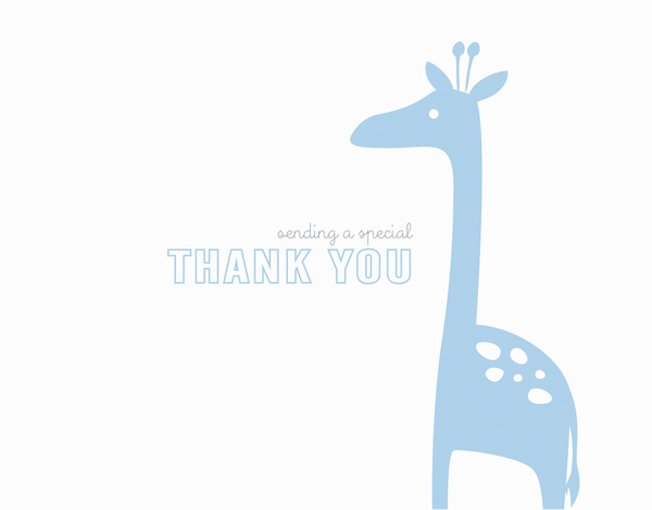 Simple Blue Giraffe Thank You Card
