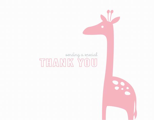 Pink Giraffe Thank  You card