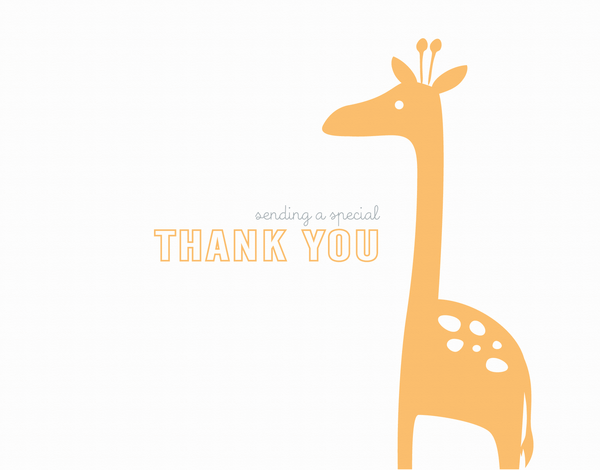 Whimsical Yellow Giraffe thank you card