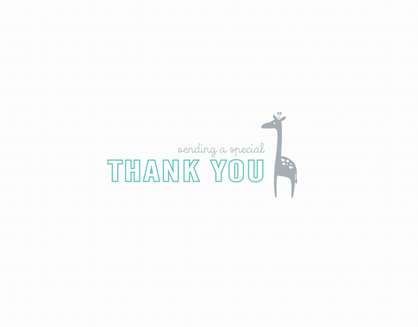 Small Thank You Giraffe Aqua
