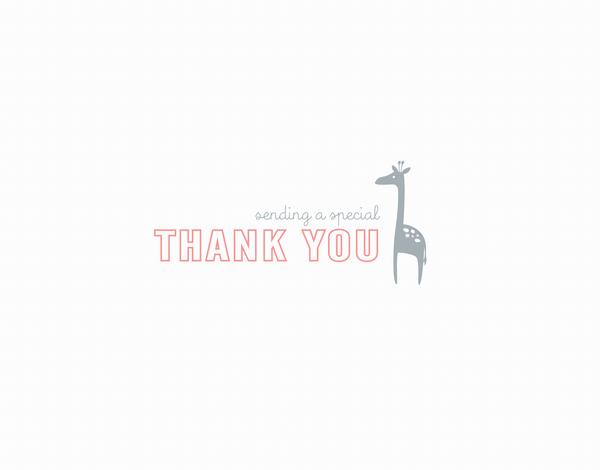 Small Peach Giraffe Thank You Card