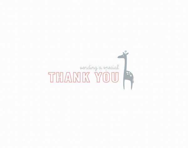 Small Peach Giraffe Thank You Card