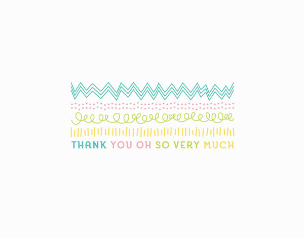 Cute Pastel thank you oh so very much card