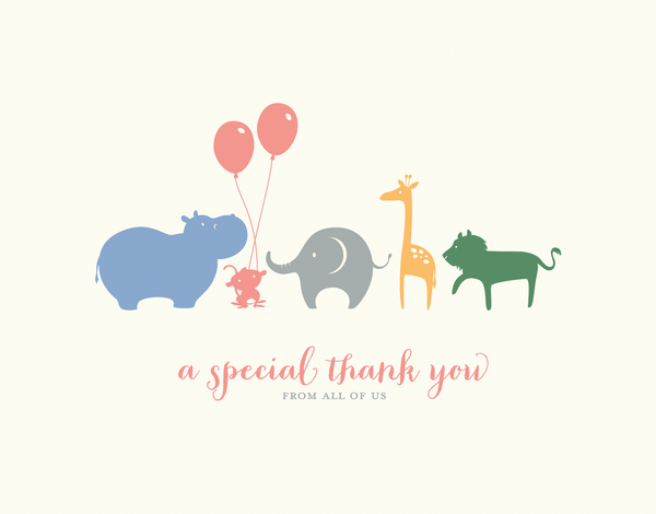Colorful Animal Thank You card