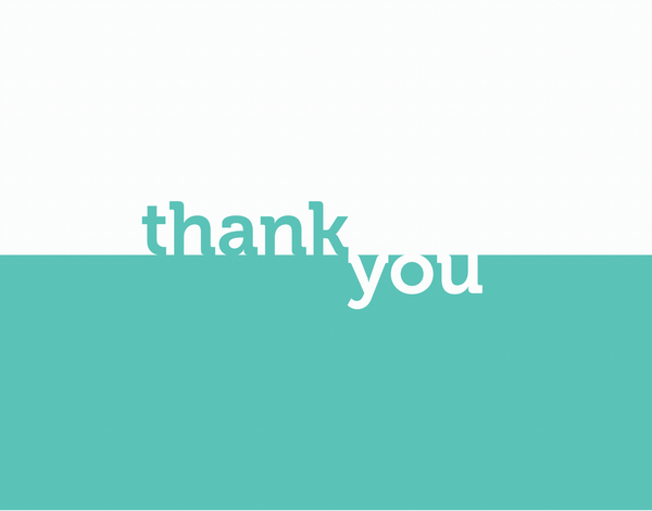Classic aqua thank you greeting card