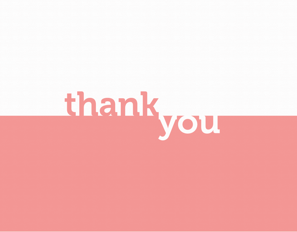 Peach Block Thank You Card