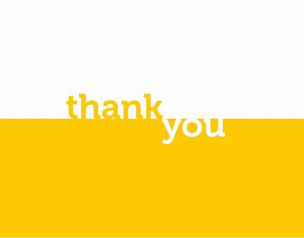 Minimal yellow block thank you card
