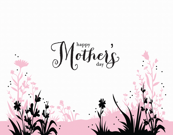 Pink and Black Meadow Mother's Day Card