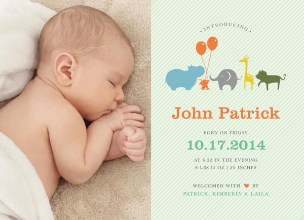 Animal Parade Birth Announcement