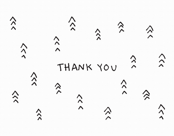 Black Hand Drawn Arrow Thank You Card