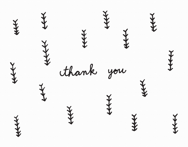 Black and White Arrow Doodle Thank You Card