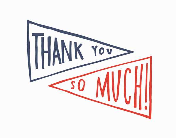 Retro Hand Lettered Pennant Thank You Card