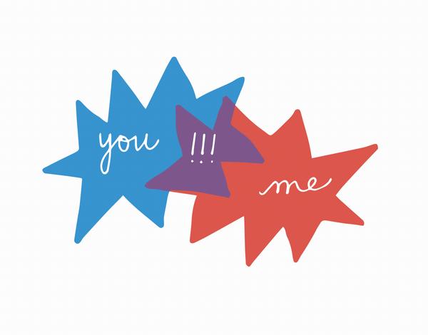 You Me Venn Diagram Illustration Love Card