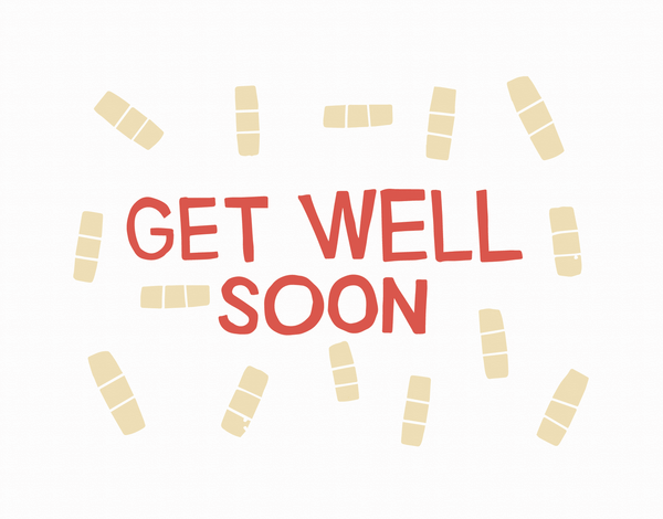 Vintage Band Aids Illustration Get Well Soon Card