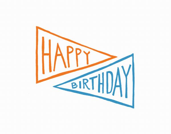 Whimsical Pennant Poppy Birthday Card