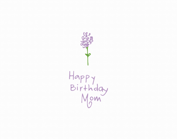 Simple Flower Doodle Happy Birthday Mom Greeting