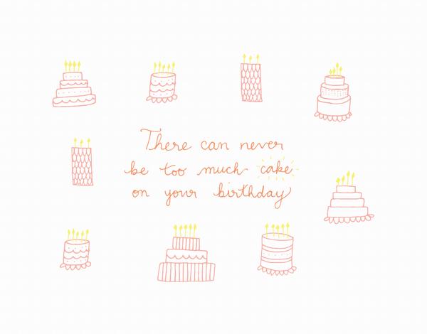 Hand Drawn Never too much cake Birthday Card