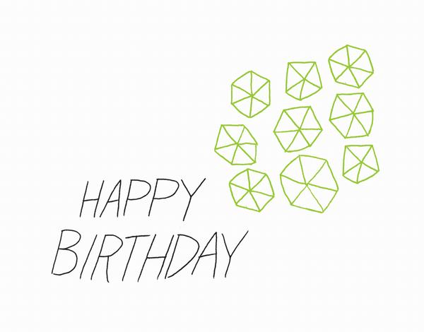 Neon Green Pinwheel Hand Lettered Birthday Card