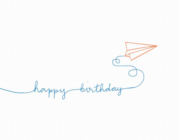 Cute Paper Airplane Birthday Card