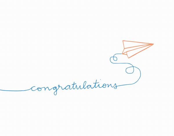 Hand Drawn Paper AirPlane Congrats Card