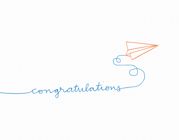 Hand Drawn Paper AirPlane Congrats Card