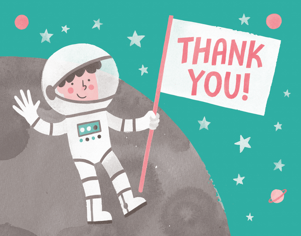 Whimsical Astronaut Thank You Card